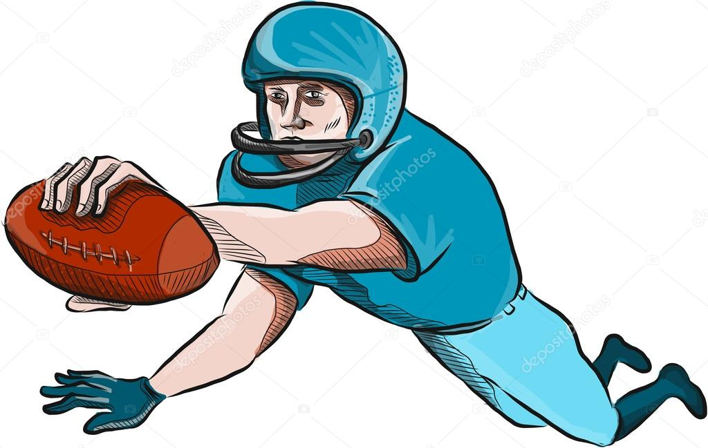 1024x649 American Football Player Touchdown Drawing Stock Vector
