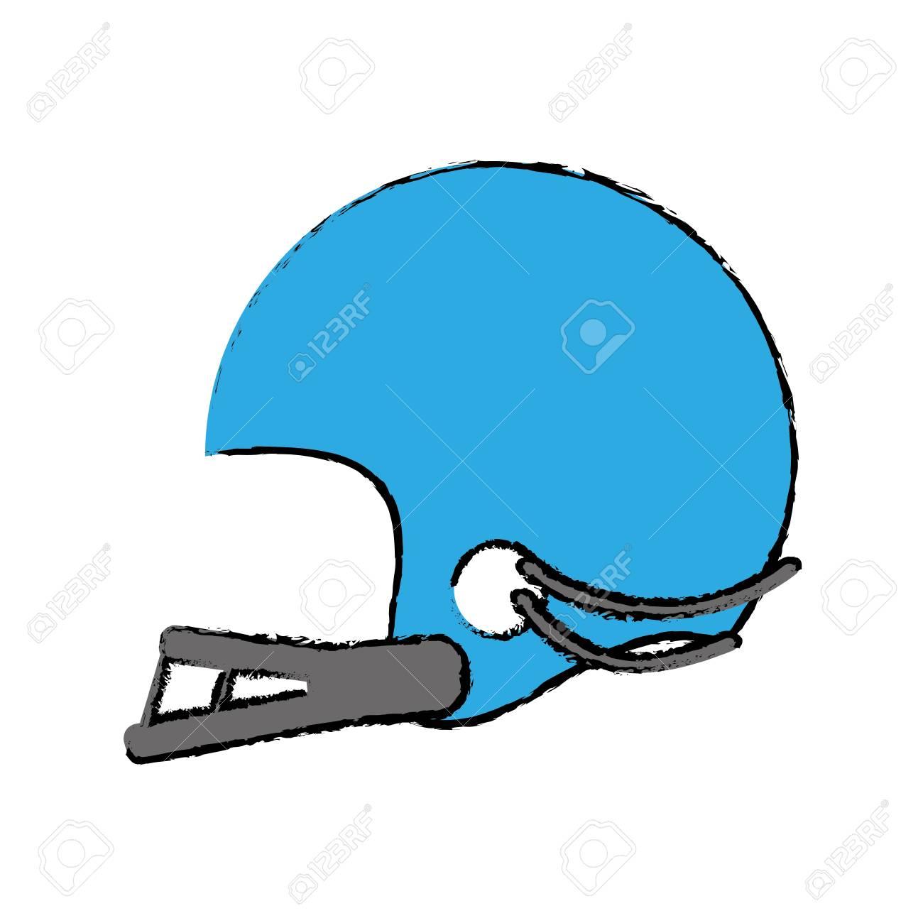 1300x1300 Drawing Blue American Football Helmet Sport Vector Illustration
