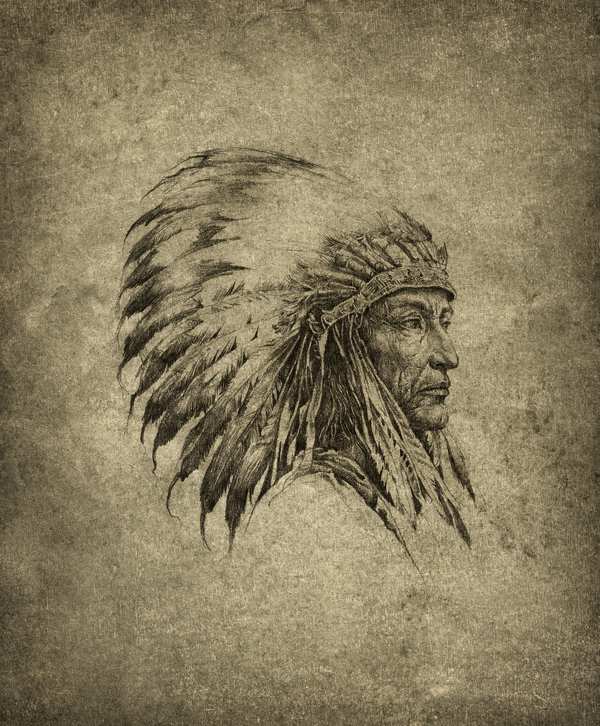 847x1024 American Indian Chief Pencil On Paper, Slightly