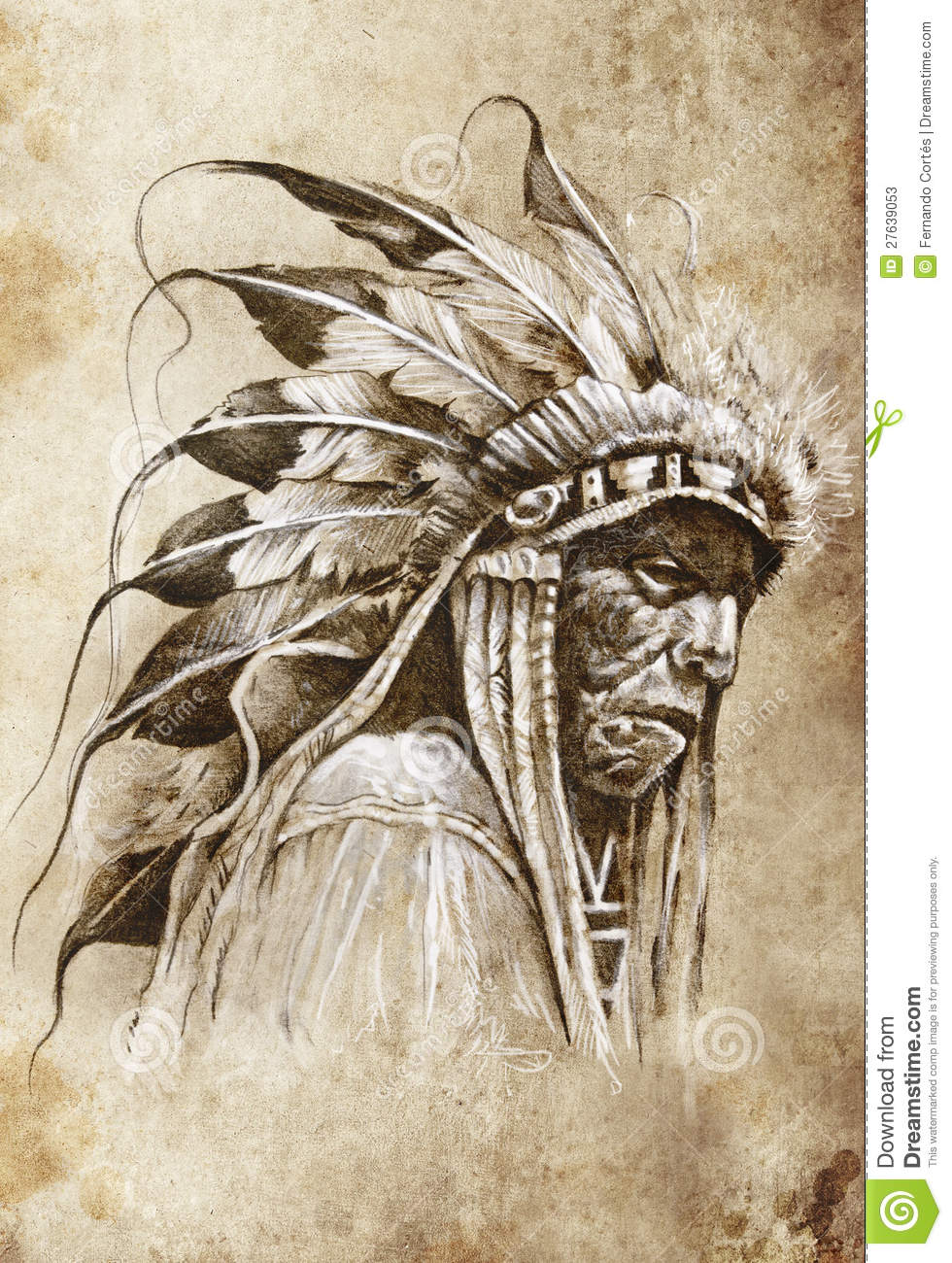 980x1300 Old Native American Indian Chief Tattoo Drawing Photo