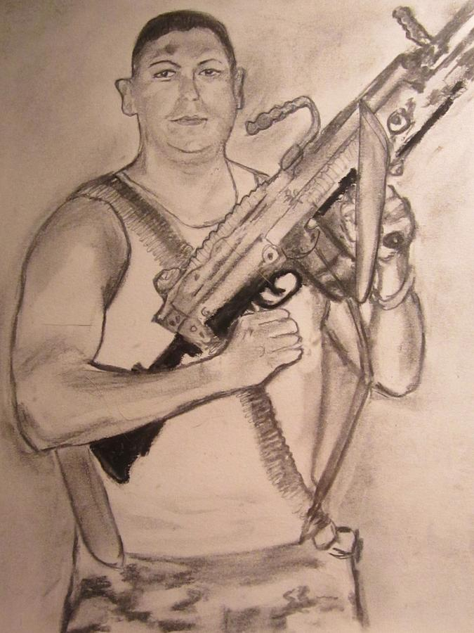 675x900 American Soldier Drawing By Susan Mcneil
