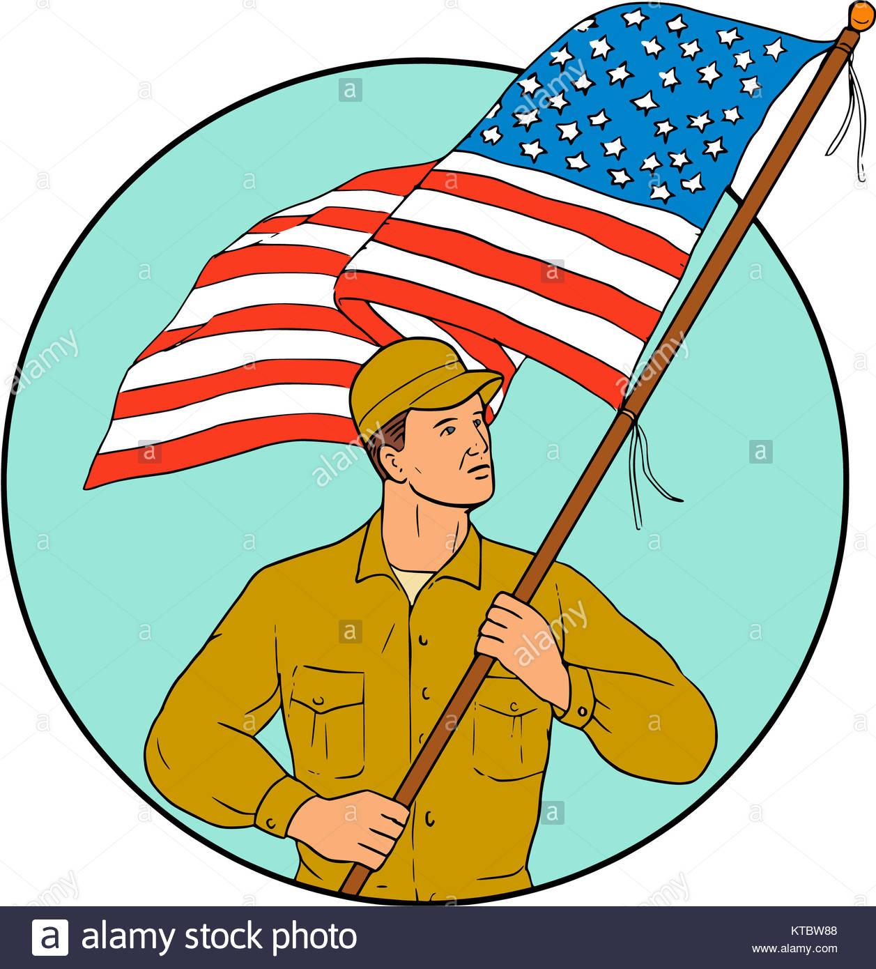 1257x1390 American Soldier Waving Usa Flag Circle Drawing Stock Photo