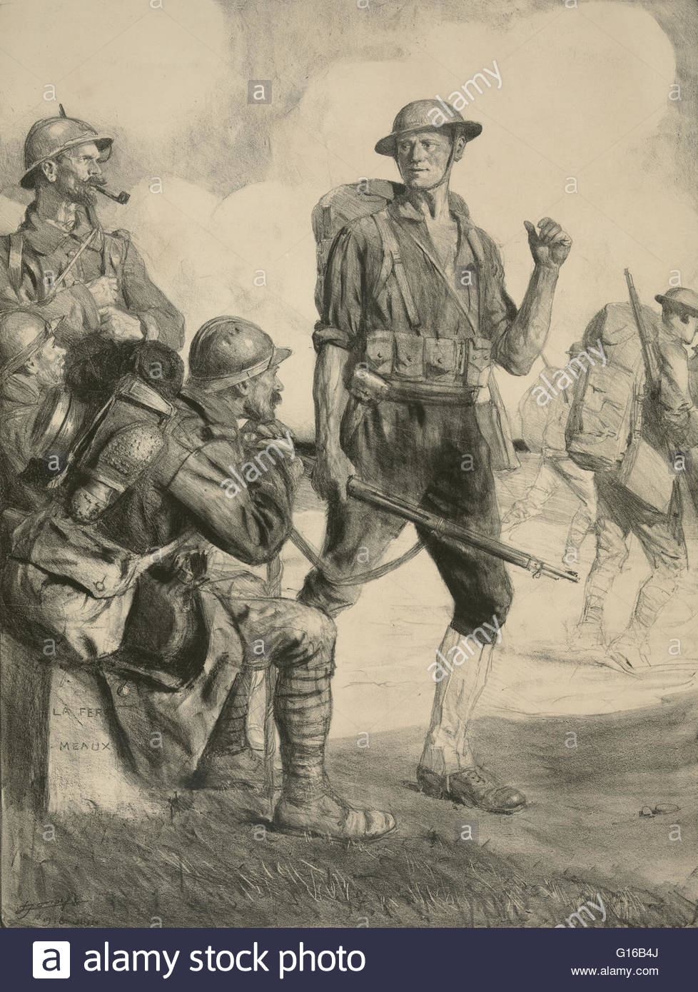 978x1390 Sketch Of An American Soldier Talking With Allied Soldiers