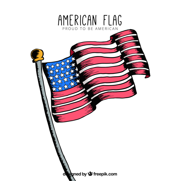 626x626 Decorative Background Of Hand Drawn American Flag Vector Free