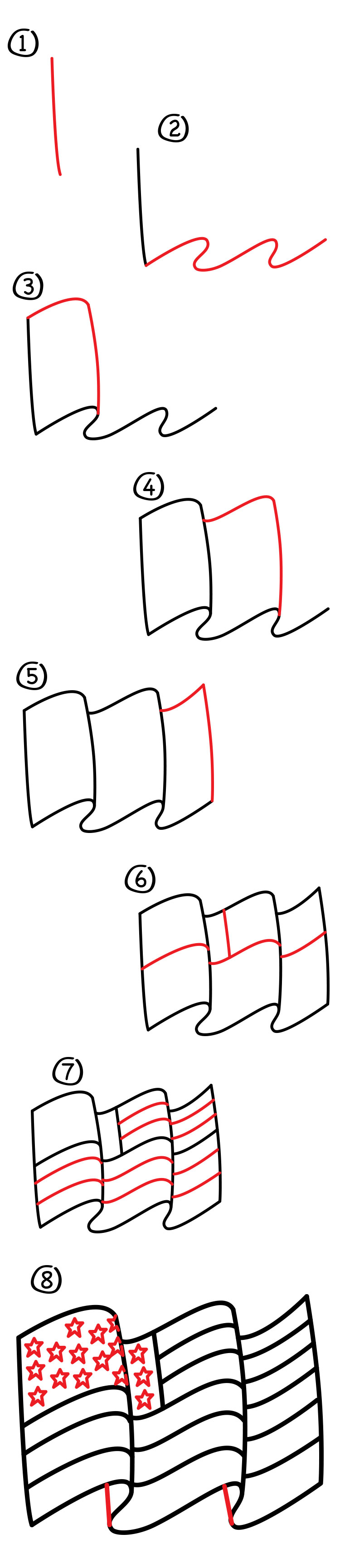 750x3458 How To Draw The American Flag