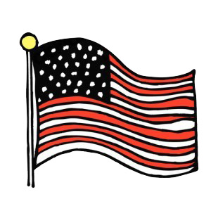 310x310 United States Flag Waving Drawing American Flag Decals, Decal