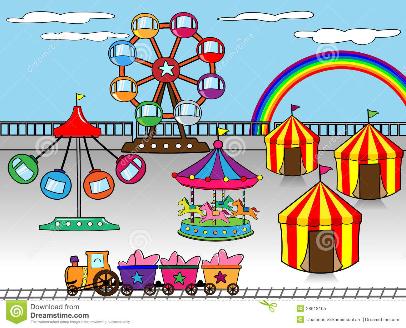 1300x1053 Drawing Of Amusement Park Amusement Park Royalty Free Stock Photo