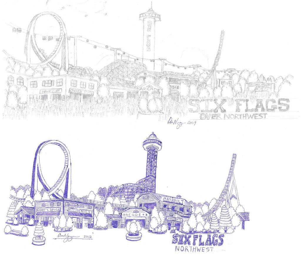 1024x881 Drawing Of Amusement Park Tpr And Theme Park Artwork