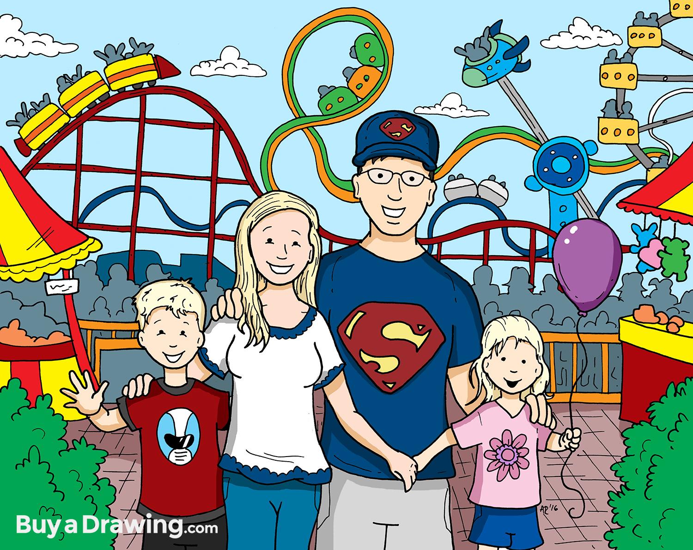 1500x1189 Family Cartoon Portrait Drawing