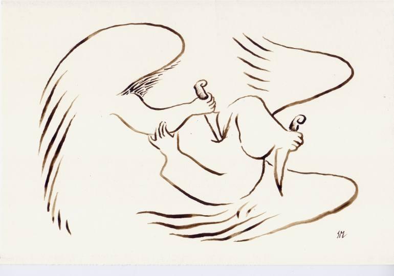 770x540 Saatchi Art Fighting Angels Drawing By Sasha Meret