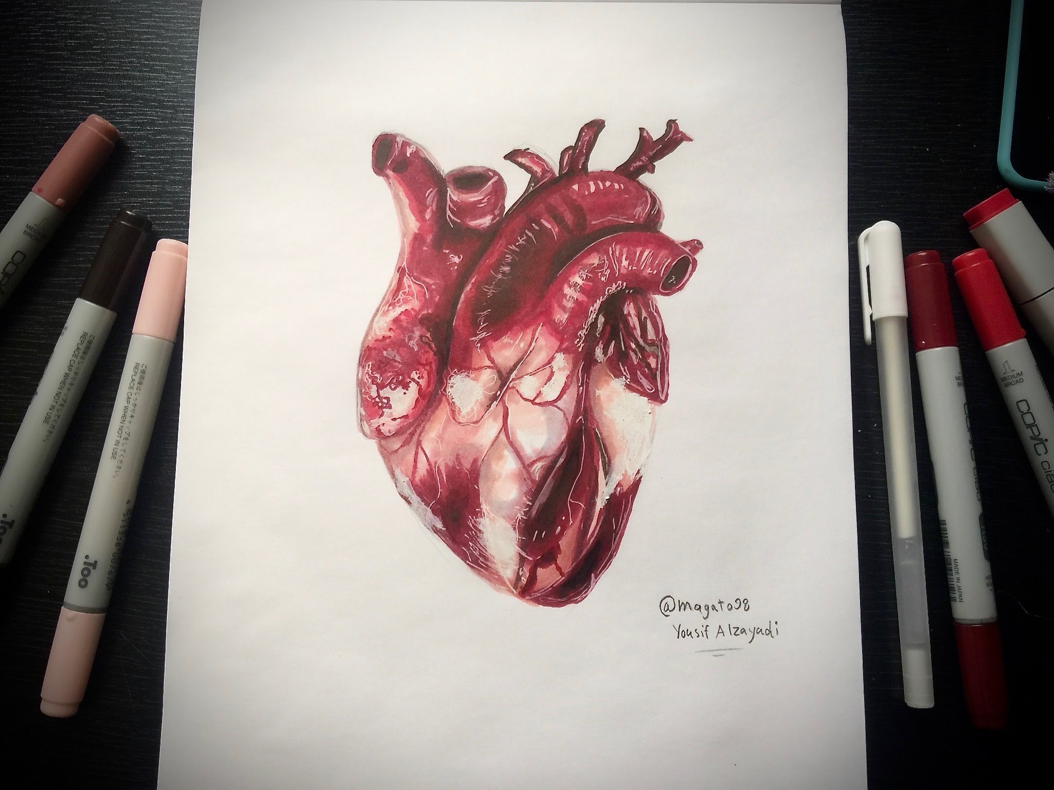 2049x1536 Realistic Human Heart Speed Drawing Magato