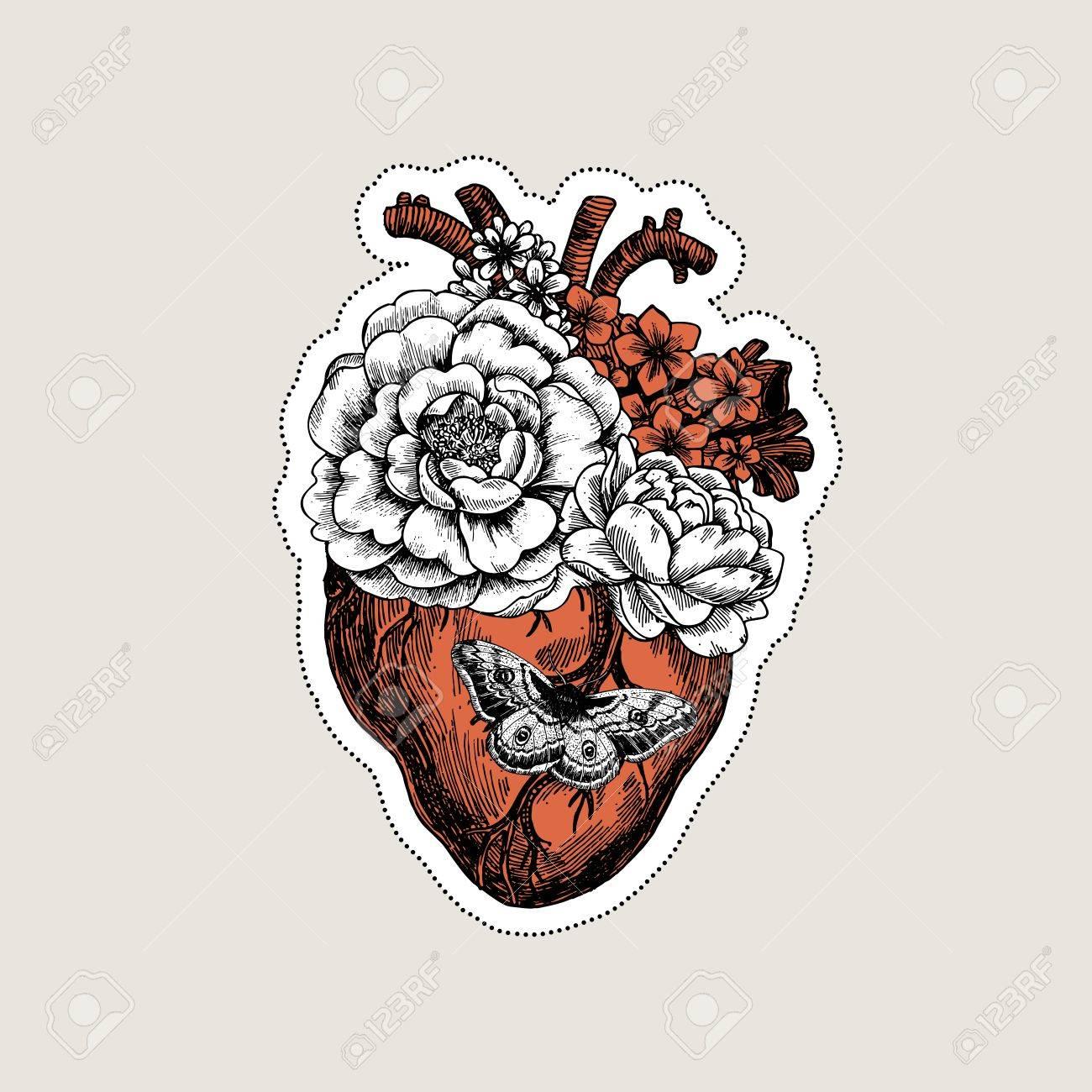 1300x1300 Tattoo Anatomy Vintage Illustration. Floral Anatomical Heart