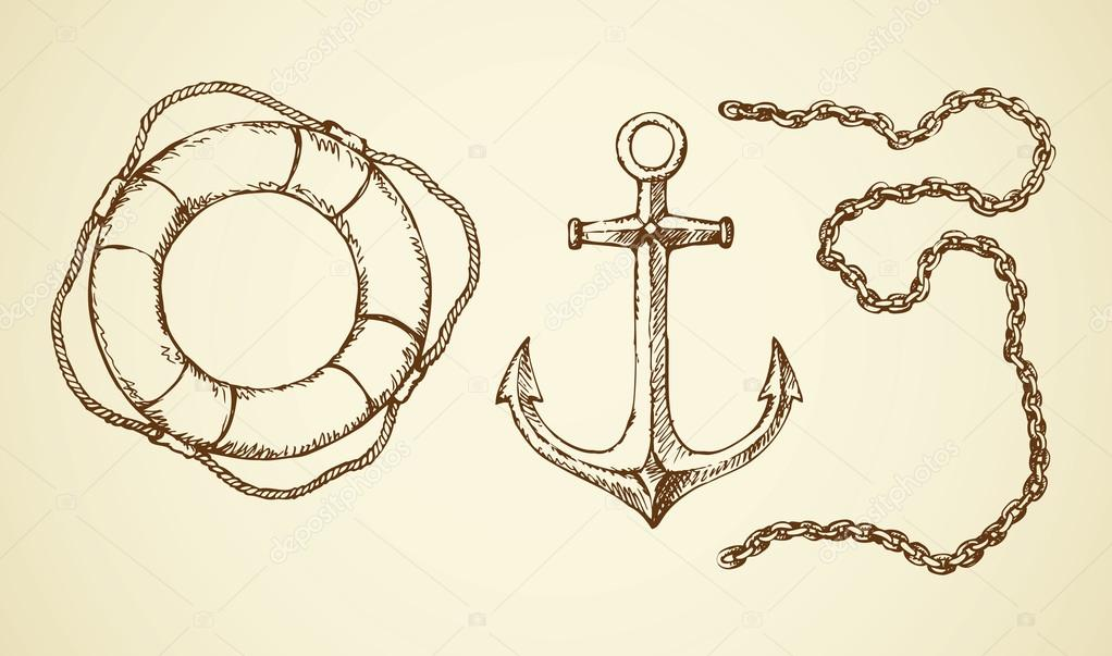 1022x603 Vector Drawing Of Chain, Anchor And Lifeline Stock Vector