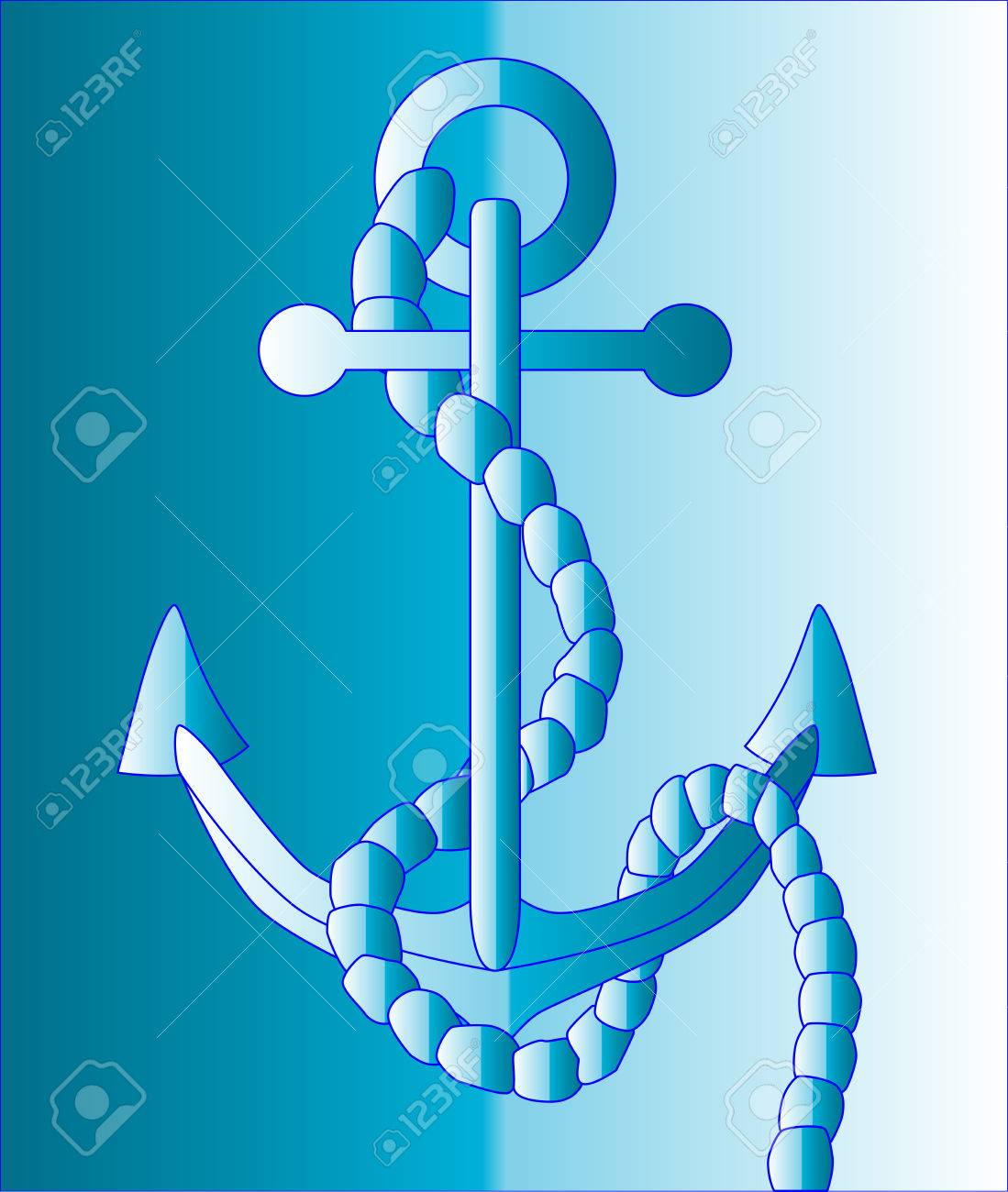 1099x1300 A Blue Anchor Drawing Against A Blue Royalty Free Cliparts