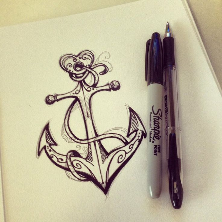 736x736 Drawn Anchor Heart