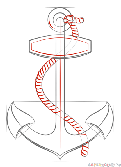 416x575 How To Draw An Anchor With Rope Step By Step. Drawing Tutorials