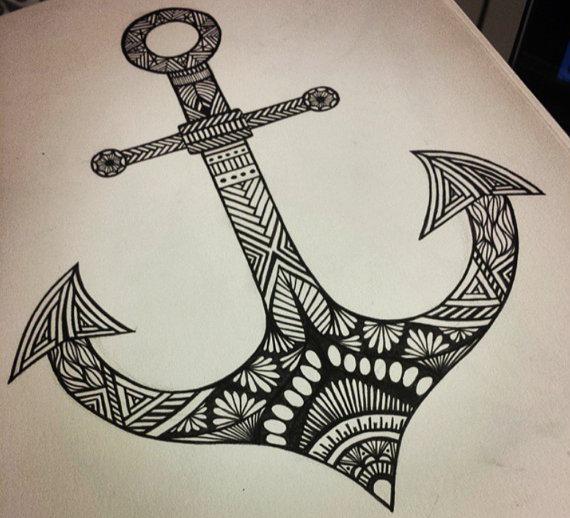 570x518 Nautical Anchor Print Anchor Drawing Nautical Art Aztec