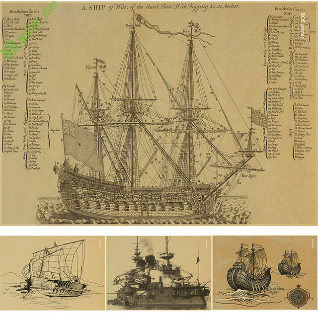 640x640 Retro Poster Ancient Warship Map Nautical Chart Home Decoration