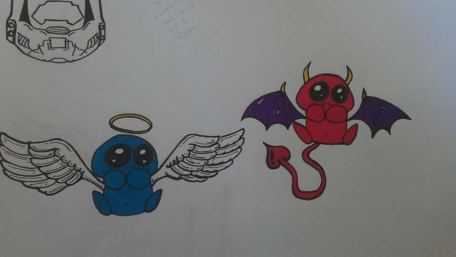 900x507 Angel And Devil Tattoo Drawing By Ginningranger