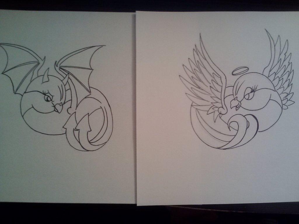 1024x768 Angel And Devil Bird Tattoo Design By Samanthalyn1
