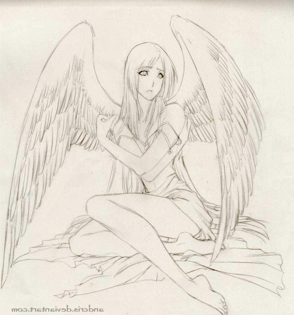 955x1024 Angel Anime Drawings In Pencil Sad Angel Anime Drawings In Pencil