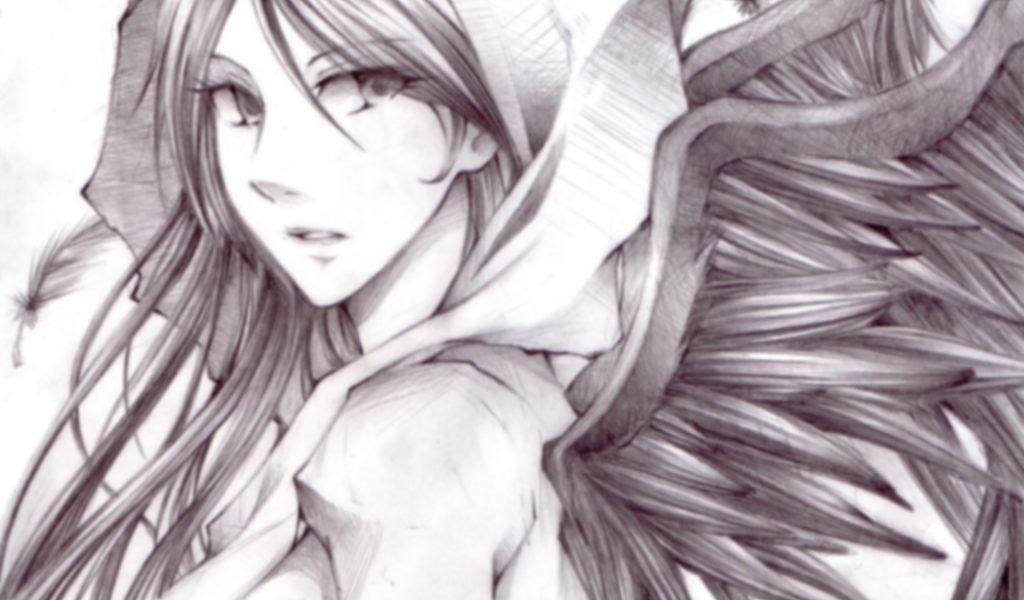 1024x600 Anime Angel Drawings Sad Angel Anime Drawings In Pencil Drawn