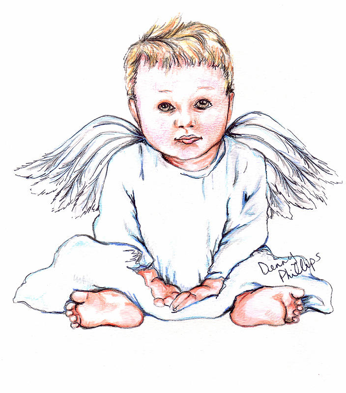 704x800 Angel Baby Ii Drawing By Denny Phillips
