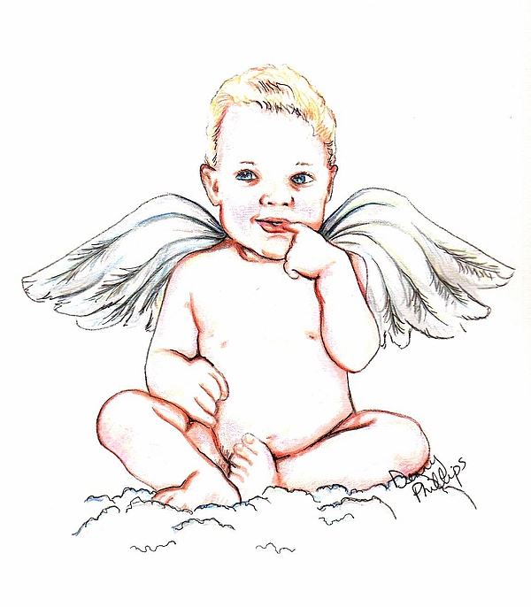 600x686 Angel Baby Mixed Media By Denny Phillips