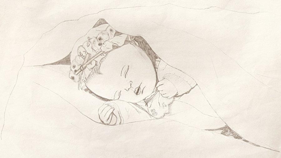 900x506 Sleeping Baby Drawing By Antihero74
