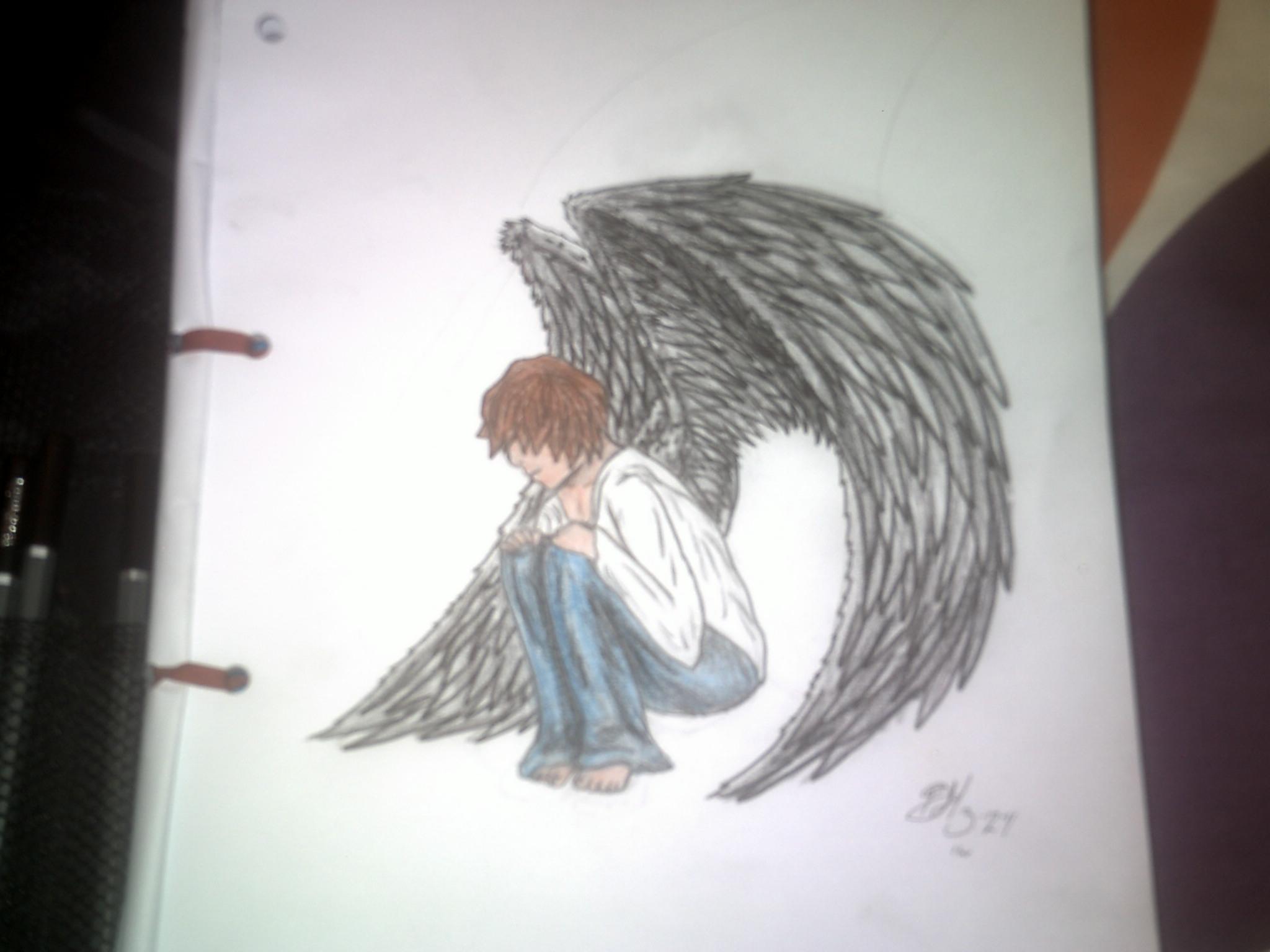 2048x1536 Drawings Of Cute Angel Boys Lonely Angel Boy Drawing