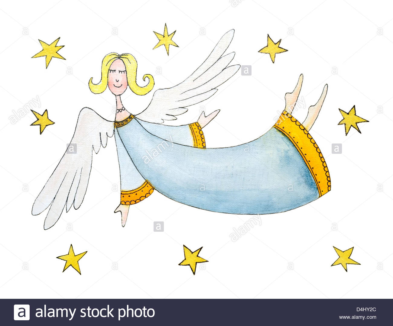 1300x1079 Angel With Stars, Child's Drawing, Watercolor Painting, Cartoon