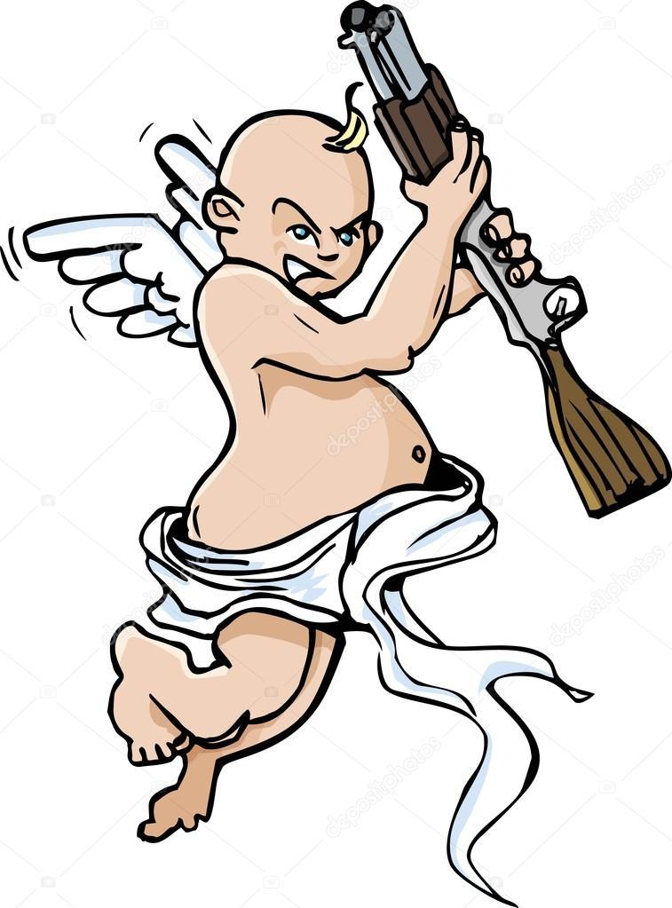 757x1023 Cartoon Of Little Angel With Shotgun Stock Vector Antonbrand