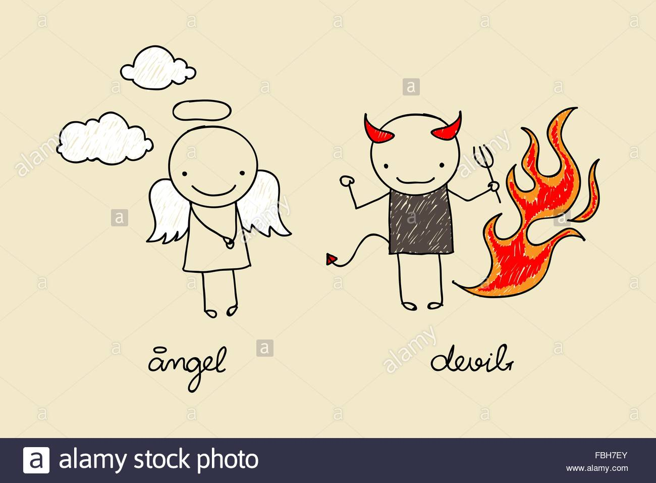 1300x956 Childish Drawing Of Cute Devil And Angel With Flames And Clouds