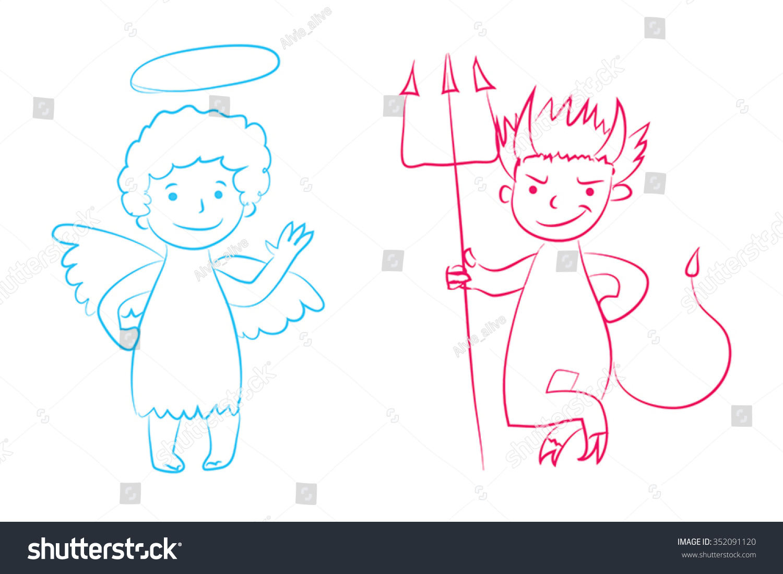 1500x1099 Drawings Of Cute Angel Boys Angel Devil Vector Illustration Boys