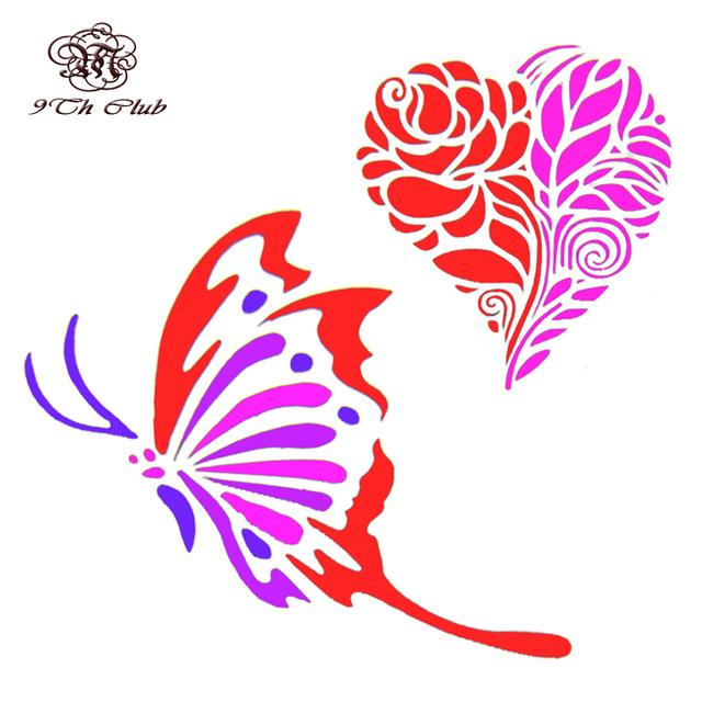 640x640 Air Brush Glitter Tattoo Stencil Cat Angel Heart Flower Butterfly