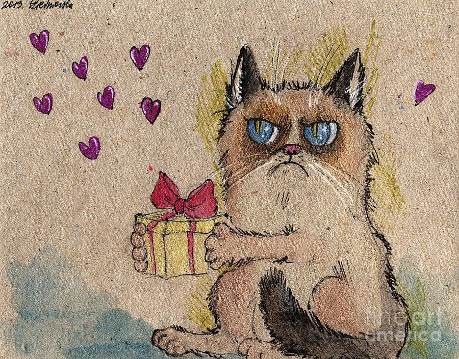 900x705 Grumpy Cat In Love Drawing By Angel Ciesniarska