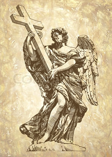 229x320 Black And White Sketch Drawing Of Marble Statue Angel From Rome