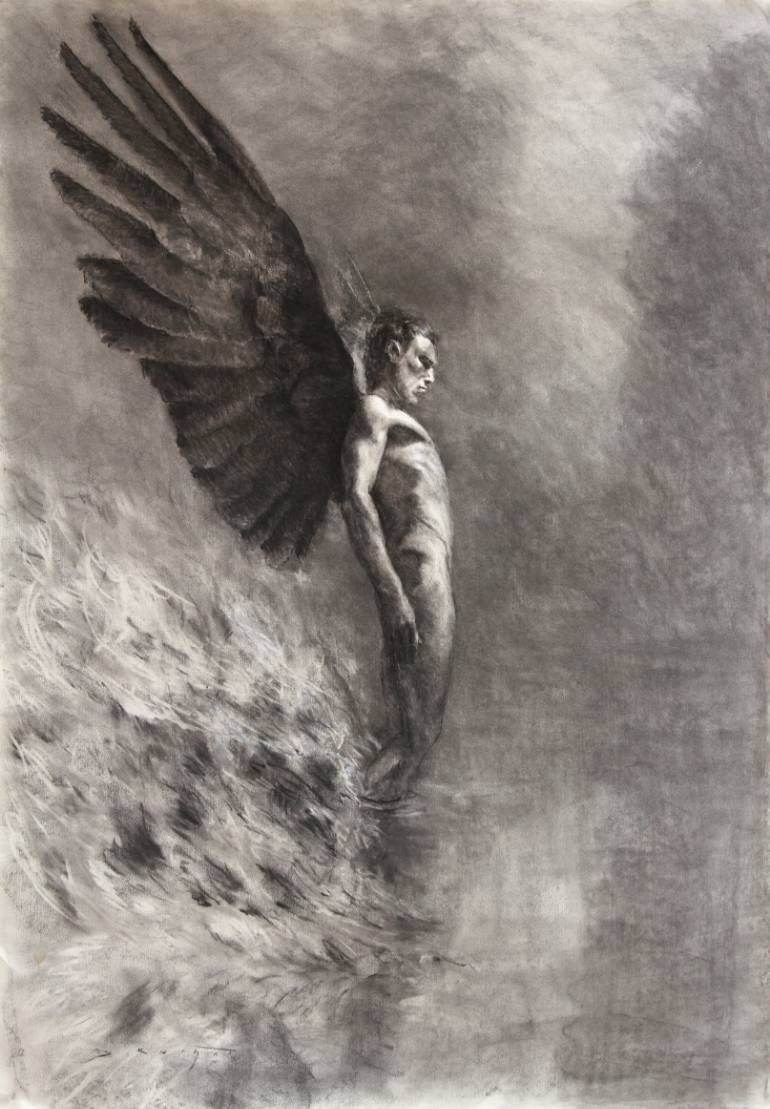 770x1109 Saatchi Art Rising Angel Drawing By David Knight