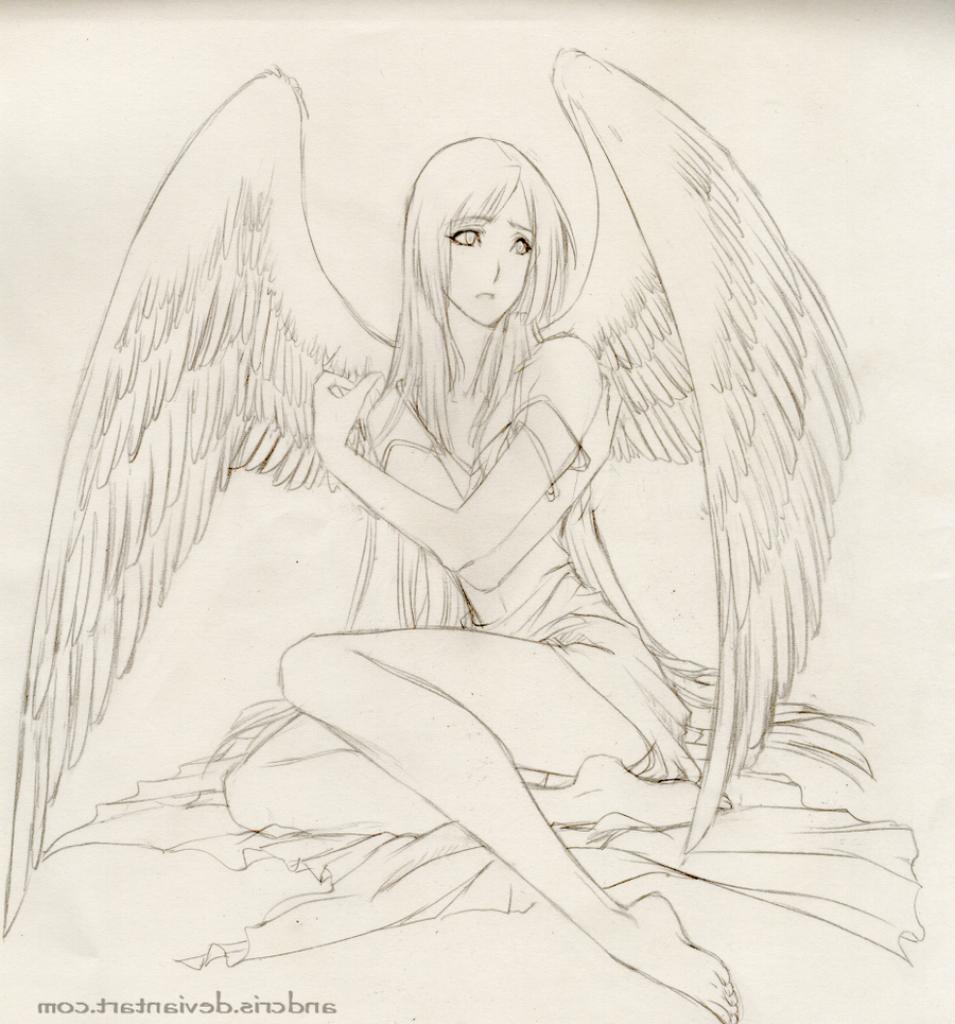 955x1024 Anime Drawing Angel Angels Drawings Pencil Angel Anime Drawings