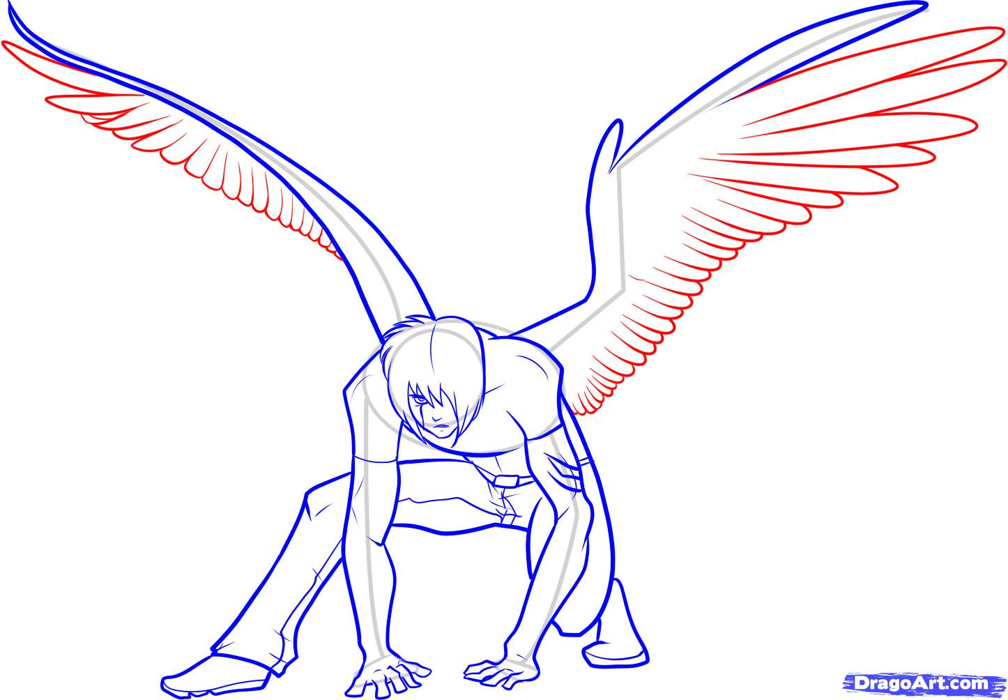 1446x1004 How To Draw Anime Wings, Draw An Anime Angel Step 15 Drawing