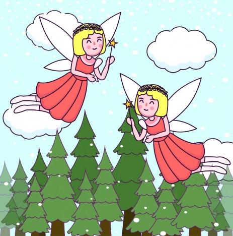 463x468 Angel Drawing Cute Girl Icon Colored Cartoon Design Vectors Stock