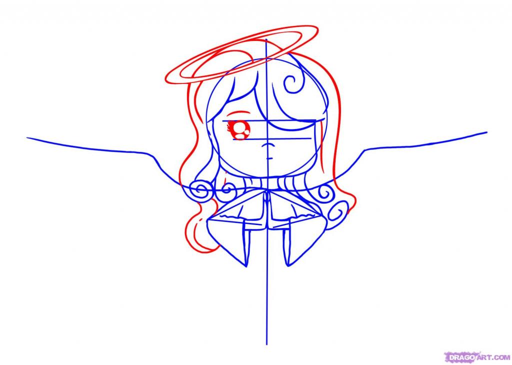 1024x730 Cartoon Drawings Angels How To Draw A Cartoon Angel, Stepstep