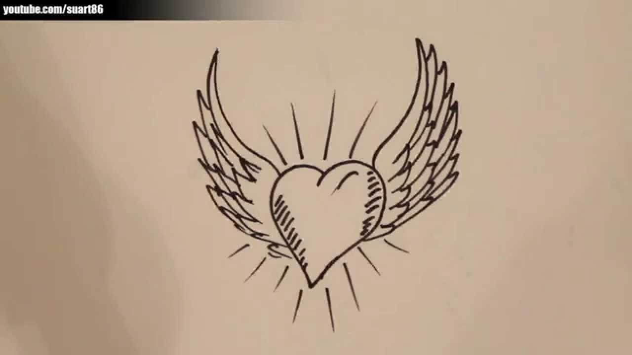 1280x720 Easy Angel Wings Drawing How To Draw A Heart With Angel Wings