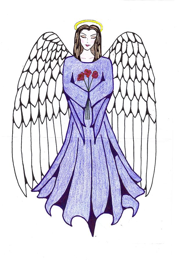 616x900 Guardian Angel Drawing By Tallulah P
