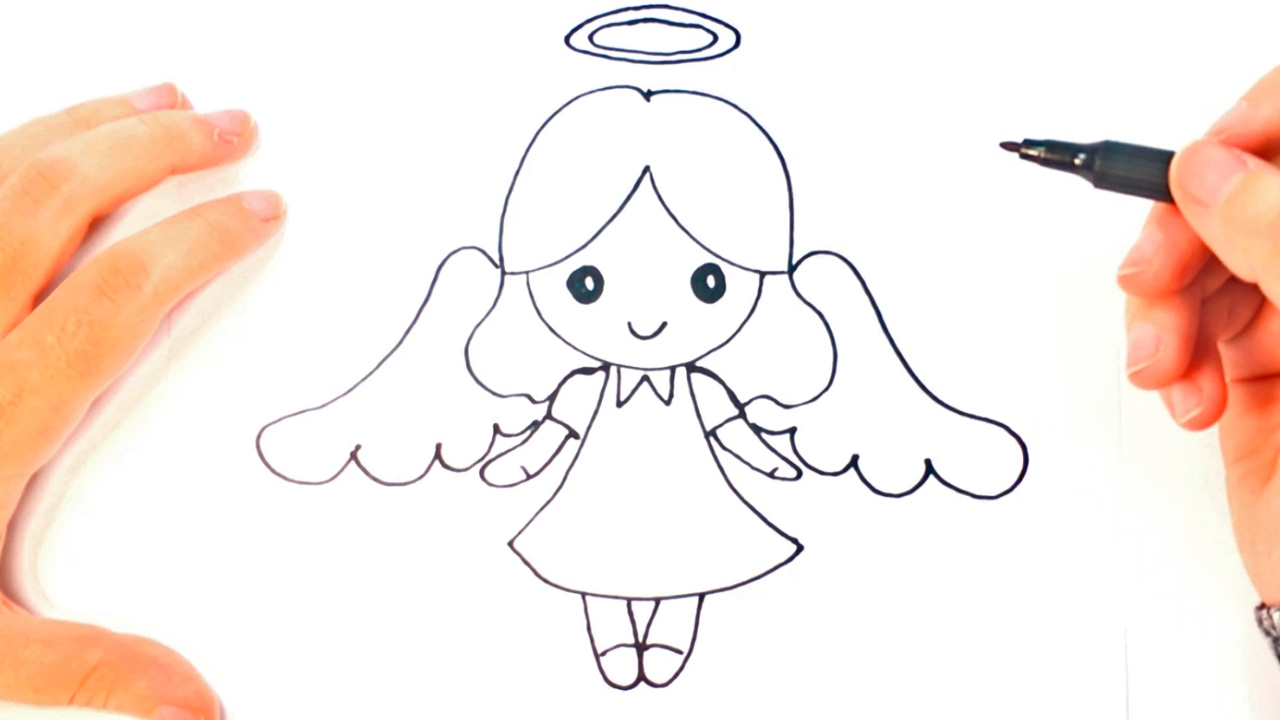 1280x720 How To Draw A Angel For Kids Angel Easy Draw Tutorial