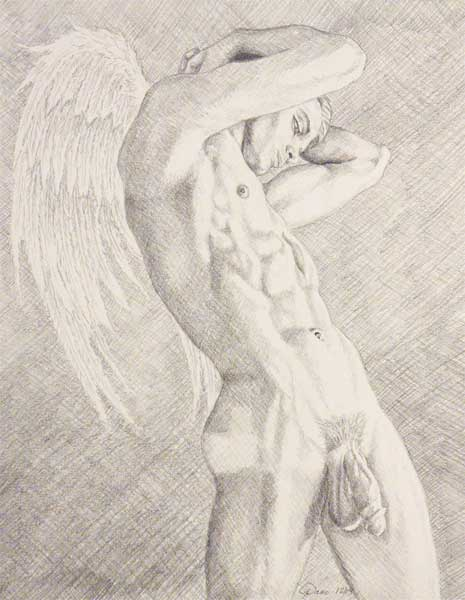 465x600 9 X 12 Drawing Print Nude Male Striving To Be An Angel Gay Art