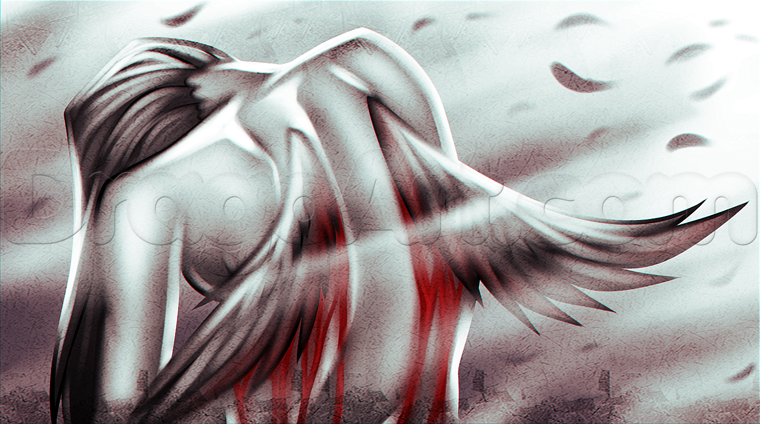 1494x834 Drawing A Fallen Angel, Step By Step, Concept Art, Fantasy, Free