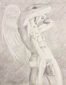 233x300 9 X 12 Drawing Print Nude Male Striving To Be An Angel Gay Art