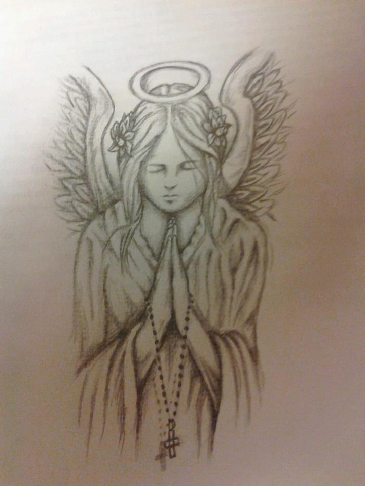 720x960 Praying Angel Drawing By Karamiatattoos