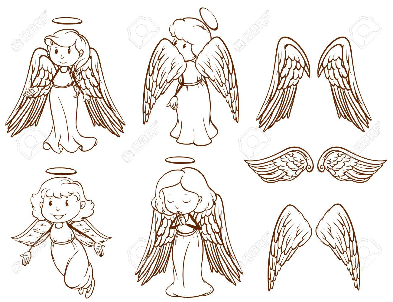 1300x999 Illustration Of The Simple Sketches Of Angels And Their Wings